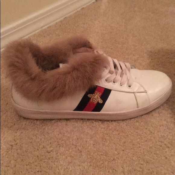 b6b1478b4 Gucci Shoes | White Ace Bee Fur Sneakers 10 Or 105 | Poshmark